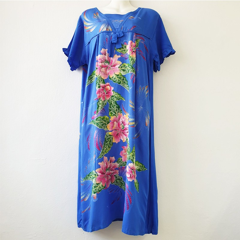 Blue Floral Short-sleeved Dress