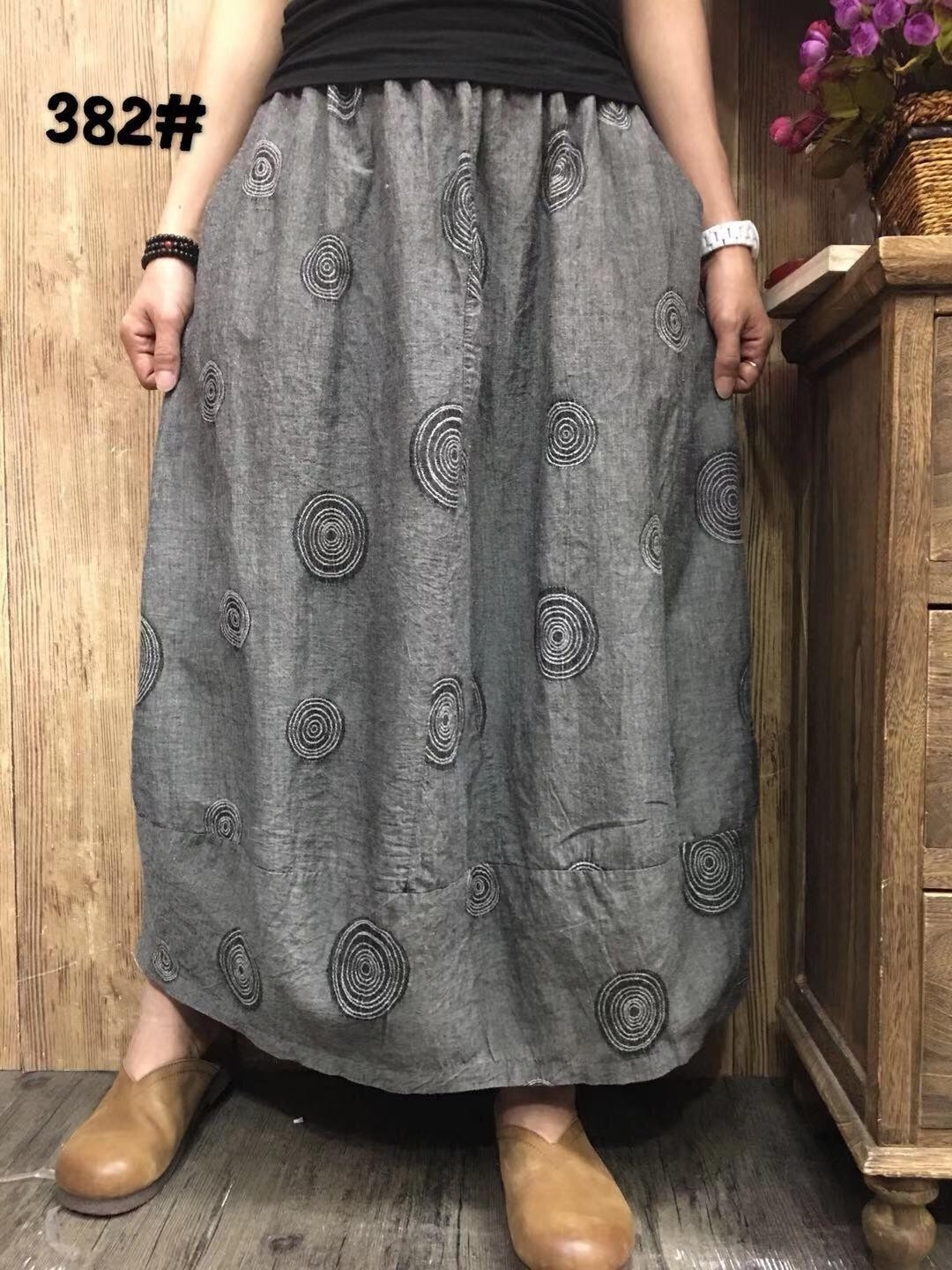 Korean Design Ankle Length Swirl Pattern Linen Cotton Skirt