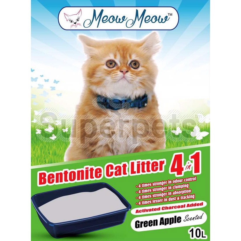 Meow Meow Bentonite Cat litter 4 in 1 – Green Apple 10L