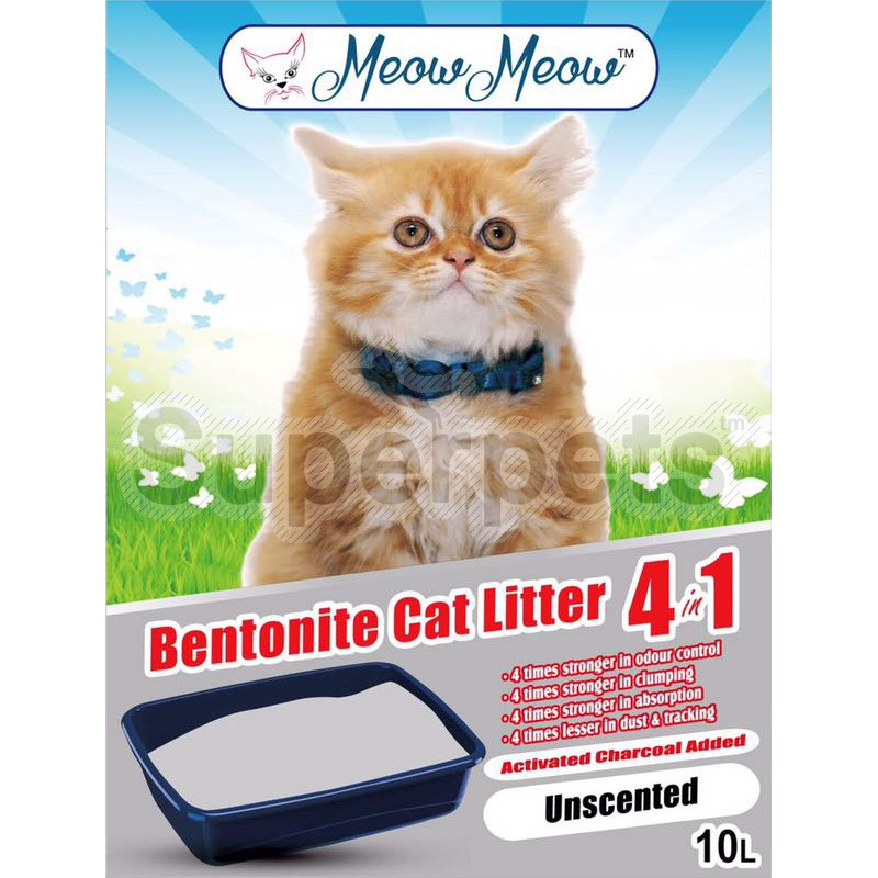 Meow Meow Bentonite Cat litter 4 in 1 – Unscented 10L