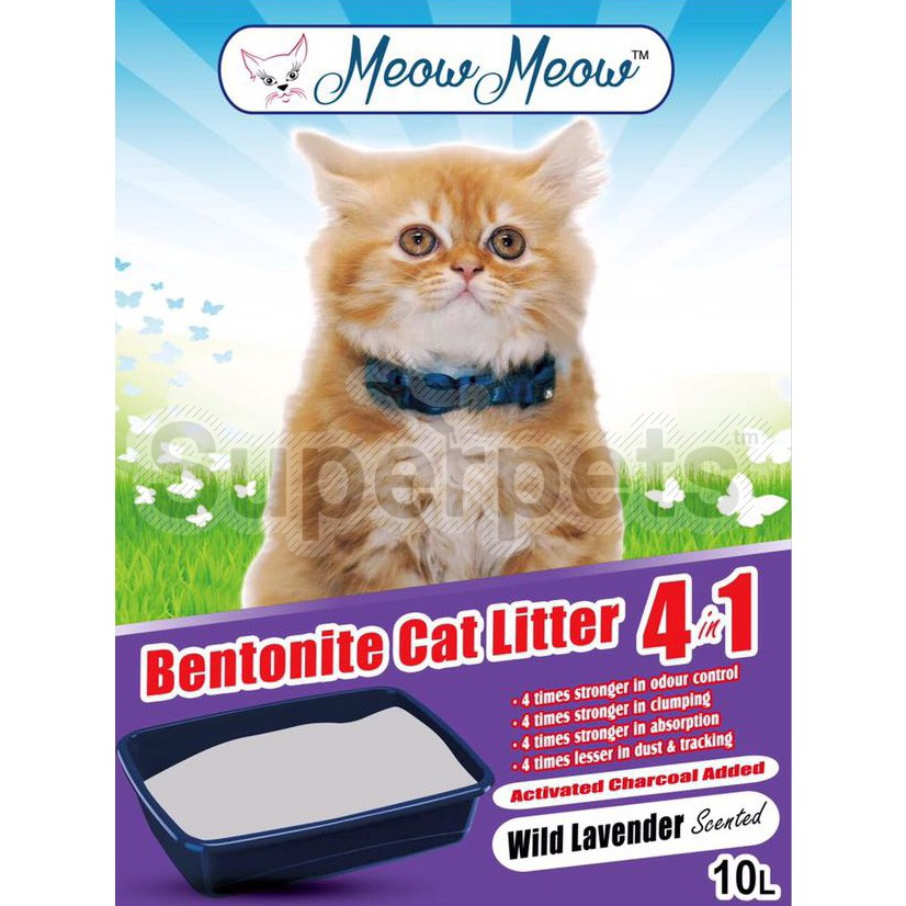 Meow Meow Bentonite Cat litter 4 in 1 – Wild Lavender 10L
