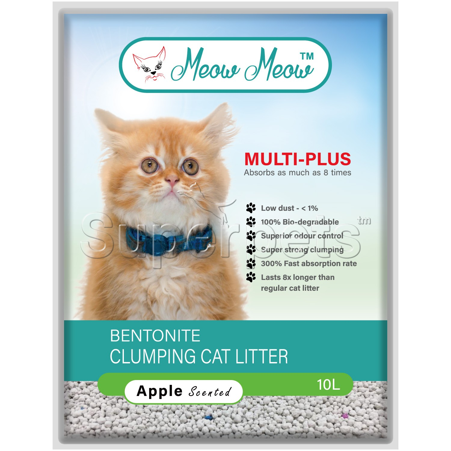 Meow Meow Multi-Plus Bentonite Cat Litter – Apple 10L