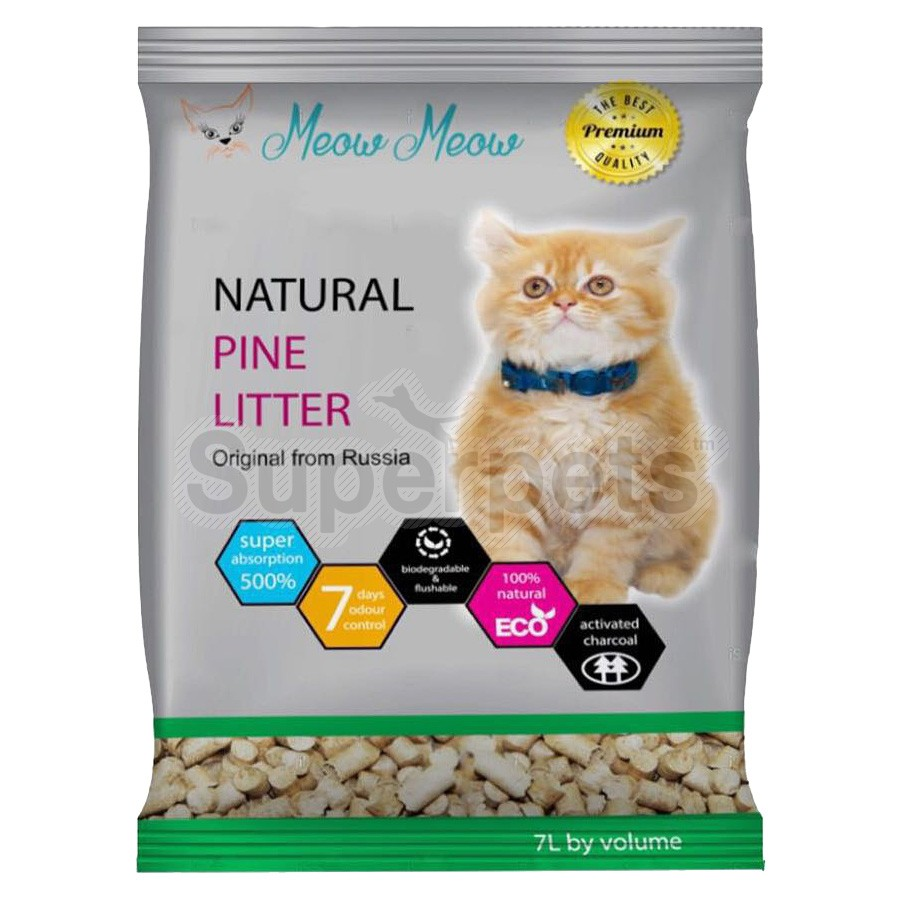 Meow Meow – Natural Pine Litter With Activated Charcoal 7L