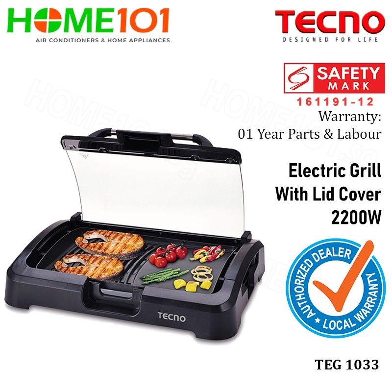 Tecno Electric Grill With Lid Cover 2200W TEG1033