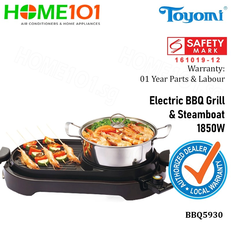 Toyomi Electric BBQ Grill And Steamboat 1850W BBQ5930